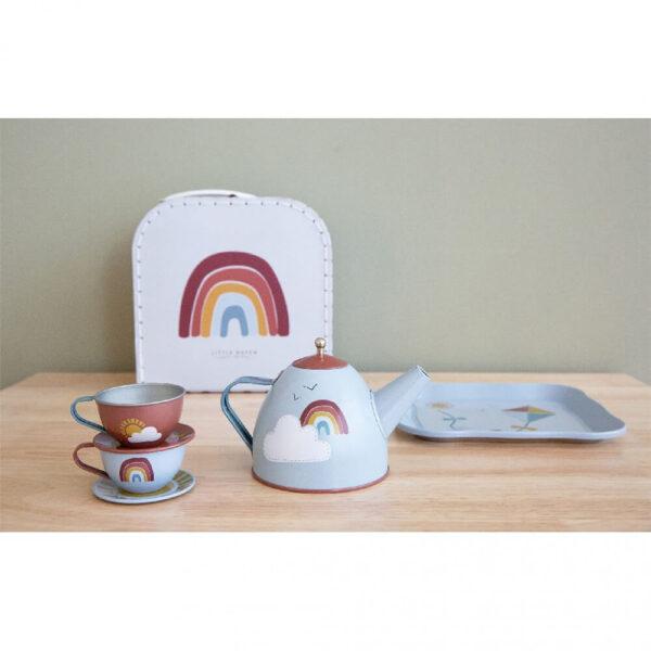 Set metalic pentru ceai in cutie cu maner - Rainbow - Little Dutch
