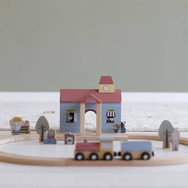 Gara cu figurine din lemn - Extensie Little Railway Collection - Little Dutch