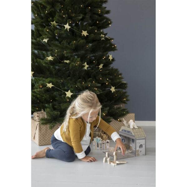 Figurine din lemn in cutie portabila - Scena Nasterii de Craciun - Little Dutch