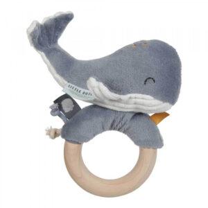 Jucarie zornaitoare cu inel din lemn - colectia Ocean Blue - Little Dutch