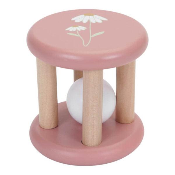 Jucarie din lemn pentru bebelusi - Cilindru cu bila - Wild Flowers - Little Dutch