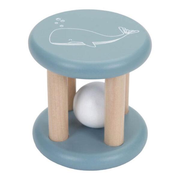 Jucarie din lemn pentru bebelusi - Cilindru cu bila - Ocean Blue - Little Dutch