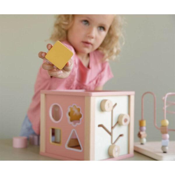 Jucarie din lemn - Cub cu Activitati - Wild Flowers - Little Dutch