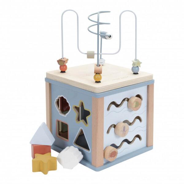 Jucarie din lemn - Cub cu Activitati - Ocean Blue - Little Dutch