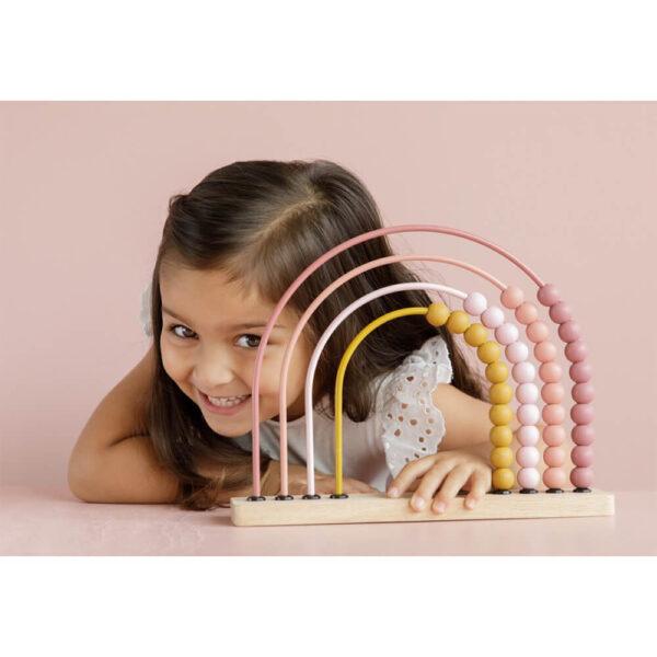 Abac din lemn curcubeu - roz - Little Dutch