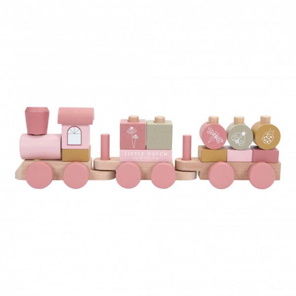 Trenulet din lemn pentru stivuire - Nou - Wild Flowers - Little Dutch