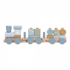Trenulet din lemn pentru stivuire - Nou - Ocean Blue - Little Dutch