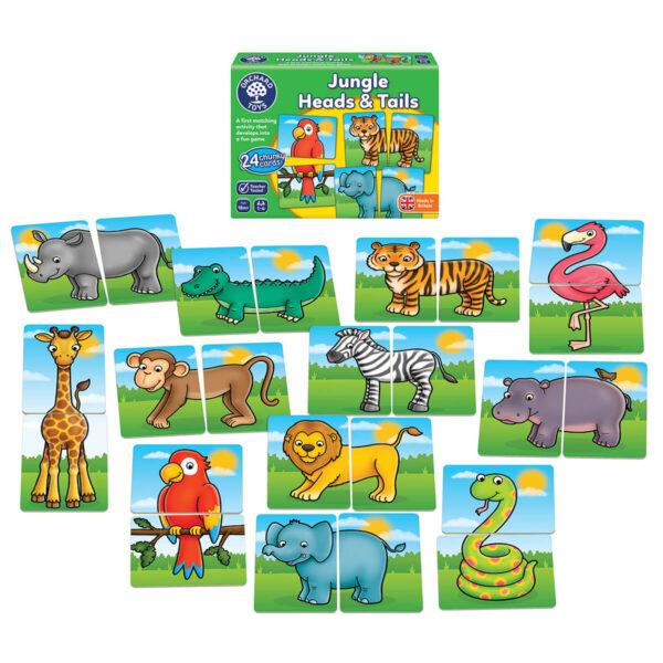Joc educativ in limba engleza - Jungle Heads and Tails - Orchard Toys