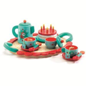 Set din lemn - Ceai si tort aniversar - Albastru - Djeco