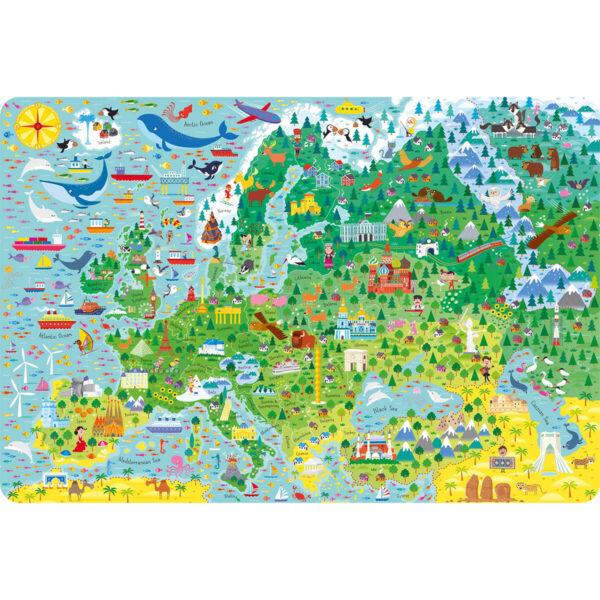 Carte cu Puzzle - Atlas and Jigsaw Europe - Usborne