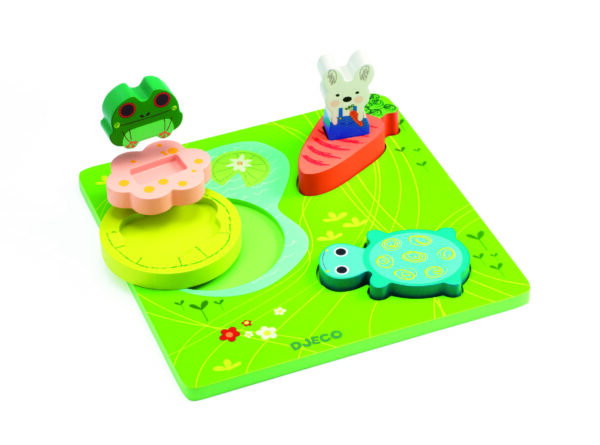 Puzzle in relief din lemn - 1,2,3 froggy - Djeco