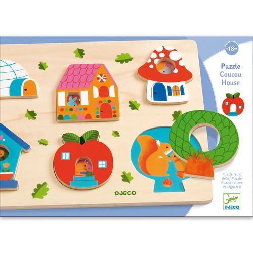 Puzzle din lemn - Casa cu surprize - Djeco