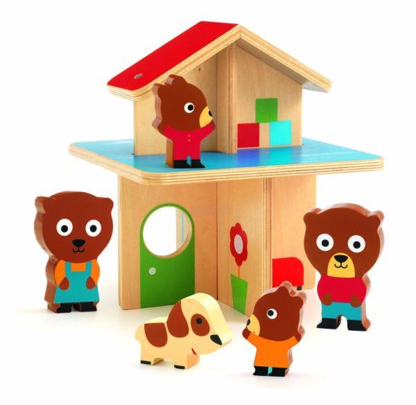 Jucarie din lemn - Mini casuta cu ursuleti - Djeco