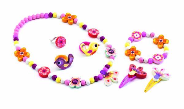 Set bijuterii colorate din lemn - Flori - Djeco