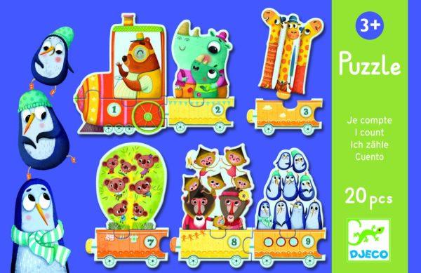 Puzzle educativ - Trenuletul cu animale numarate - Djeco