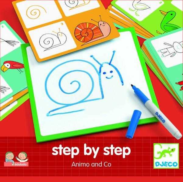 Deseneaza pas cu pas - Animale & Co - Djeco
