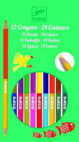Set 12 creioane duble - Djeco