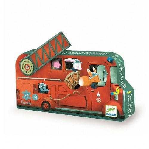Puzzle - Masina de pompieri - Djeco