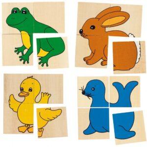 Joc puzzle si de memorie - Karemo 5 animale - Goki