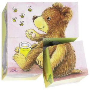 Puzzle cu cuburi - Pui de animale - Goki