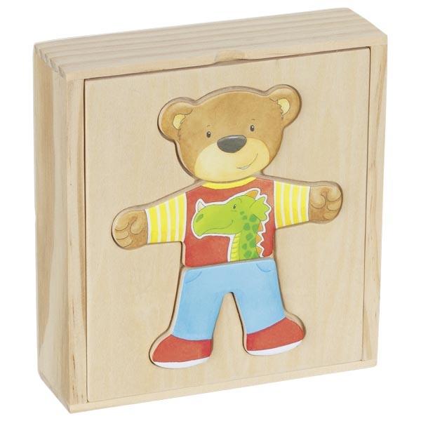 Puzzle in cutie de lemn - Imbraca ursuletul - Goki