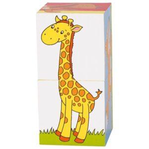 Puzzle cu cuburi din lemn animale goki