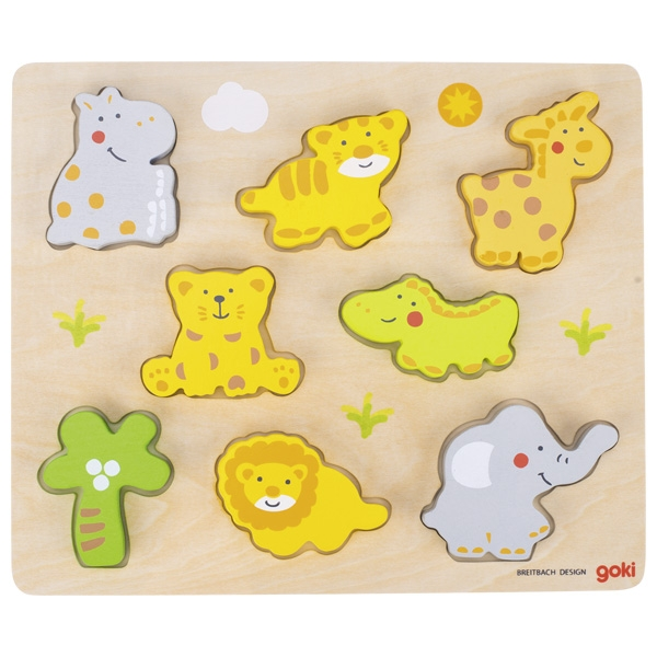 Joc 2 in 1 - Puzzle si figurine - Animale salbatice - Goki