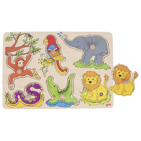 Puzzle de insertie cu sunete - Animale de la Zoo - Goki