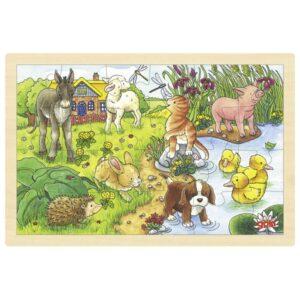 Puzzle pentru copii - Pui de animale - Goki