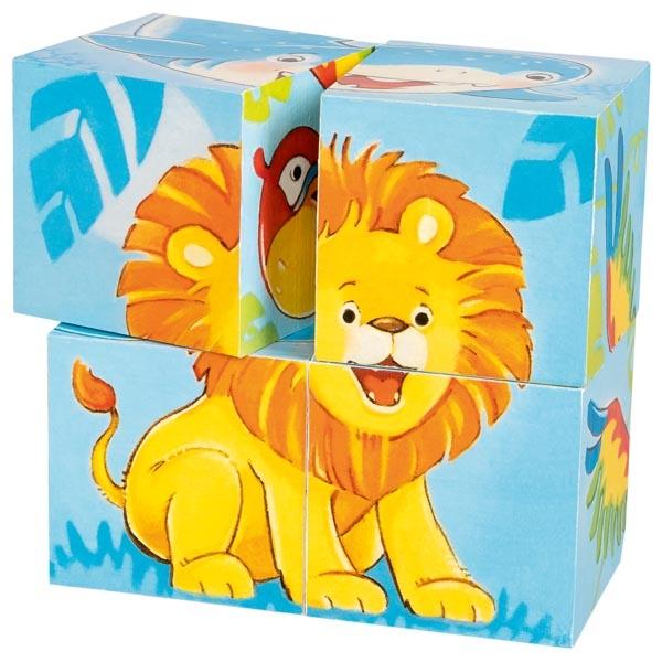 Puzzle cu cuburi - Animale salbatice - Goki